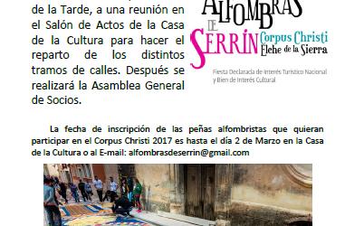REUNIÓN DE PEÑAS ALFOMBRISTAS PARA EL CORPUS 2017