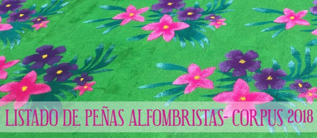 LISTADO DE PEÑAS ALFOMBRISTAS-CORPUS 2018